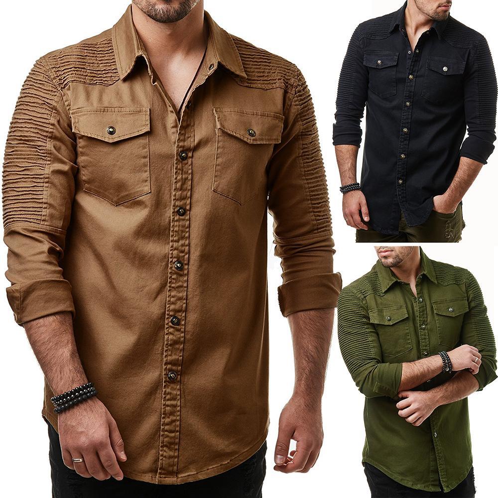 454e60080010e Compre Marca 2018 Moda Jeans Camisa Manga Larga Lavable Camisa De Vaquero  Bolsillo Decoración Para Hombre Camisas De Vestir Hombres Delgados A  32.38  Del ...