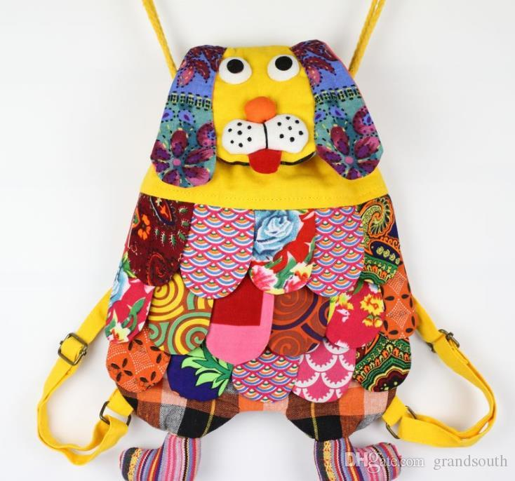 Chinese Ethnic Character Handmade Cotton Dog Backpacks Children Package Kids Girls Fashion School Dog Bags