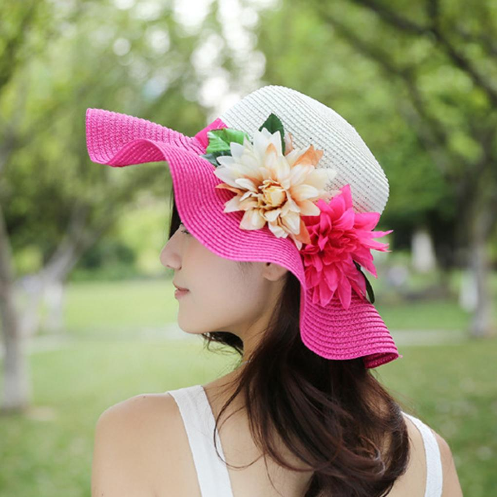 Splicing UV Protection Women Girl Wide Brim Hat Flower Decor Summer Large  Brimmed Hat Straw Braid Beach Sunhat Cap Wedding Hats Baby Hats From  Hilaryw 8ad4bcb21e4e