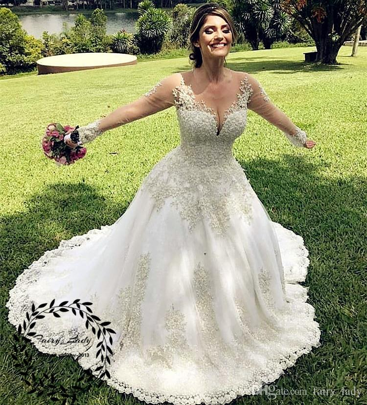 Sheer Lace Applique Long Sleeve Wedding Dress V Neck: Discount Sexy Deep V Neck Lace Wedding Dresses Sheer Long