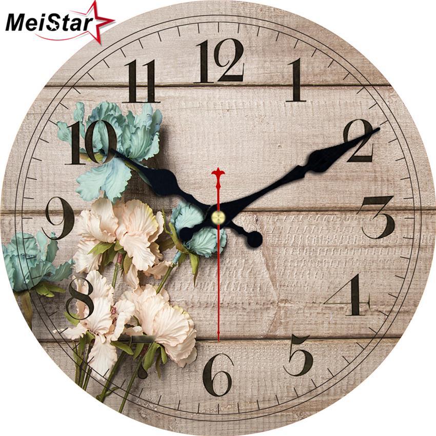 Meistar 3 Patterns Vintage Wooden Clock Flower Design Silent Living