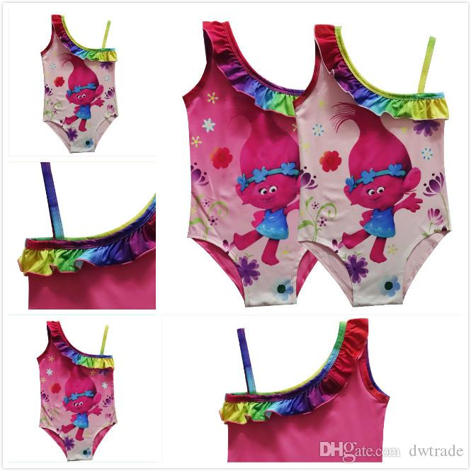 c8ecdd2da8465 2019 Trolls Magic Elf Girls Kids Swimwear One Shoulder Tiny Band Sling  Swimwear Summer Beach Swimsuit Children'S Pool Bathing Suits From Dwtrade,  ...