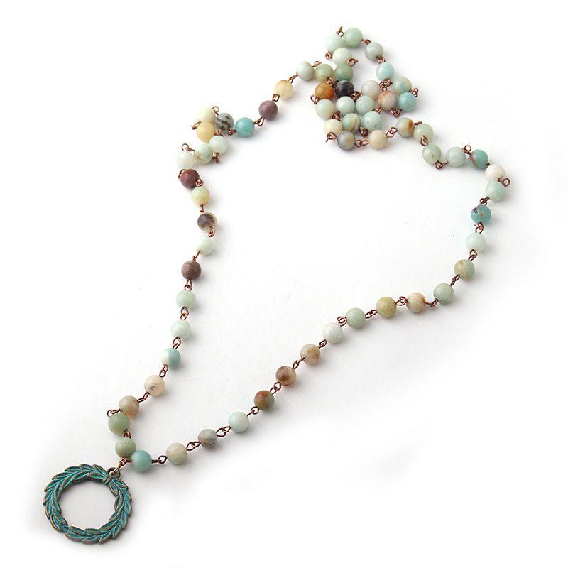 MOODPC Fashion Bohemian Tribal Artisan Jewelry Rosary Chain Amazonite Stones with Cross horsehead charm pendant Necklace