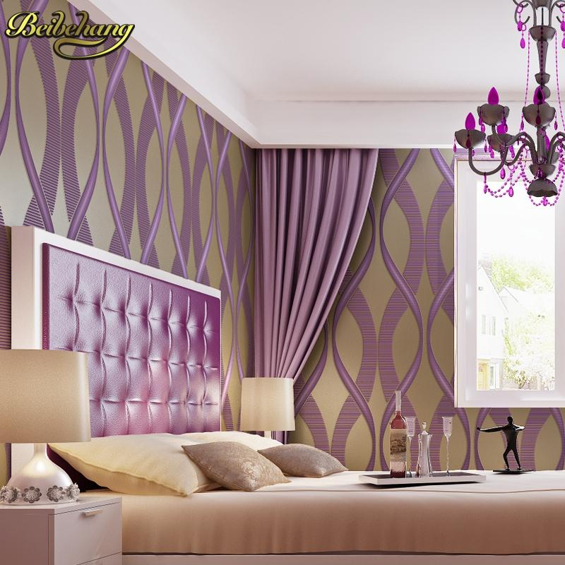 Beibehang Girl Bedroom Wallpaper For Walls 3 D Purple Stripe Wall ...