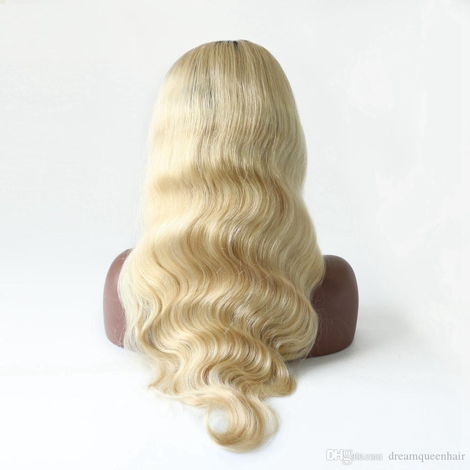 Dream Remy Queen Two Tone Ombre 1B 613 Dark Roots Blonde Body Wave Full Lace Wig Grade 10A Natural hairline