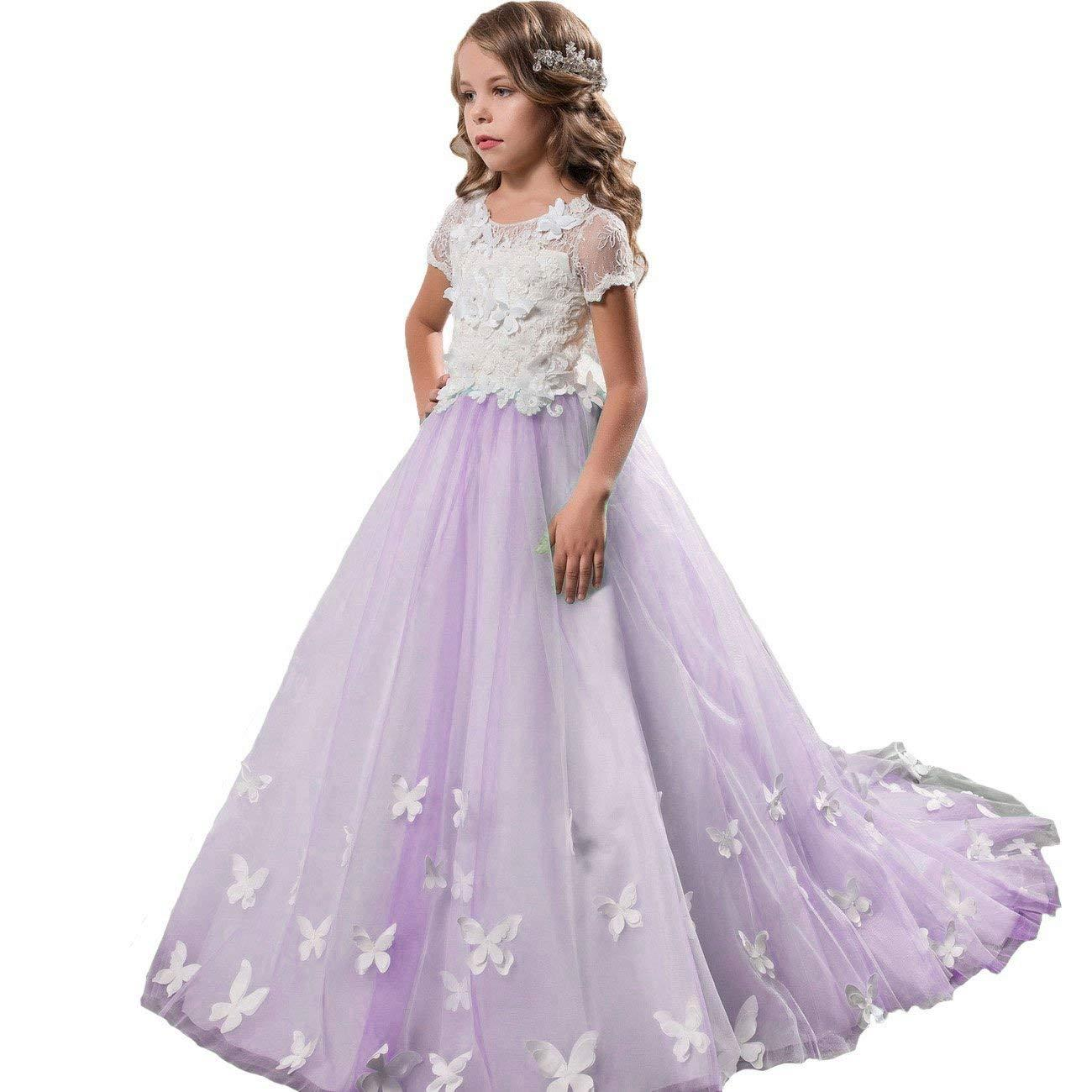 Country White Ivory Lace Flower Girl Dresses First Communion Party