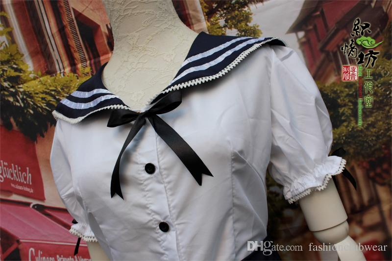 Lovely Lolita Girl Bubble Dress Navy Style School Girl Cosplay Uniform Cute Bow-tie Girl Sailor Suit Students Clothes For Female