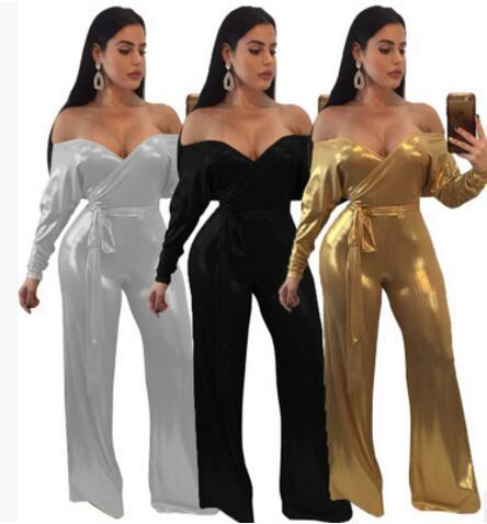 f9964b7fdaf 2018 new Women Jumpsuit Fashion sexy deep V slash neck off shoulder Club  Party Rompers Hot drilling Casual bodysuits Wide leg trousers