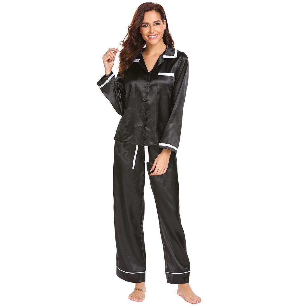2897bdde1d 2019 Ekouaer Satin Pajamas Set Sleepwear Classic Long Sleeve Women  Loungewear Home Pajamas Nightwear Home Clothing From Cansou