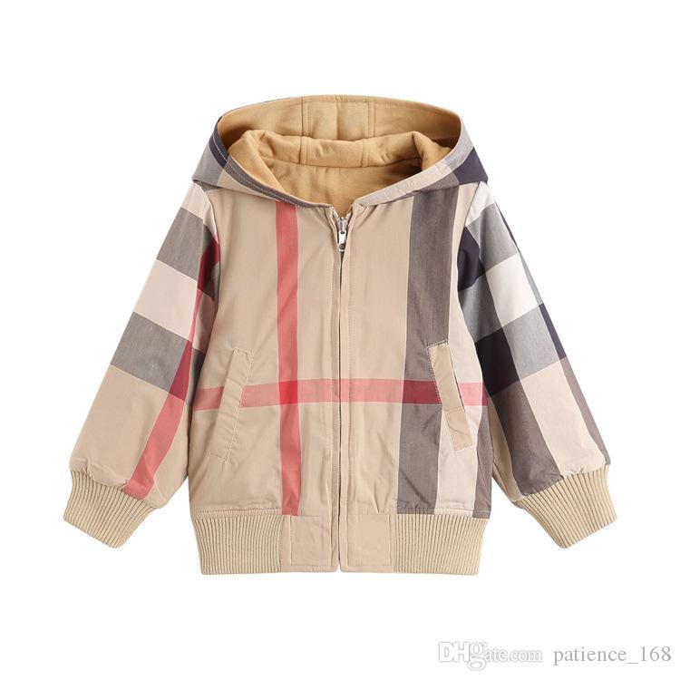 foto ufficiali e0015 60806 giacca a scacchi 2018 autunno Inverno nuovi stili bambini giacca a maniche  lunghe plaid spessa giacca calda cerniera ragazze di alta qualità in cotone  ...