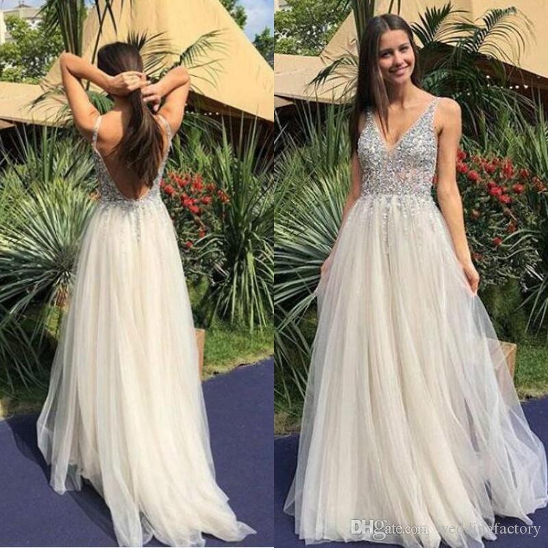233ac4d196f Sparkly 2019 Prom Dresses Sexy Deep V Neck Sleeveless Backless Beads  Sequins Top Tulle Evening Party Gowns Custom Made High Quality Dresses For  Juniors ...