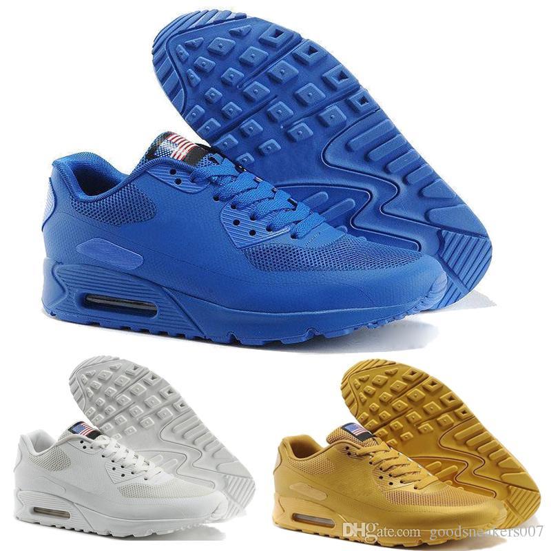 568b7239bd13d Nike Air Max Airmax 2018 HY PRM QS 90 Hombres Mujeres Zapatillas Para  Correr 90s HyperS Fusibles Bandera Americana Negro Blanco Azul Marino Oro  Plata ...