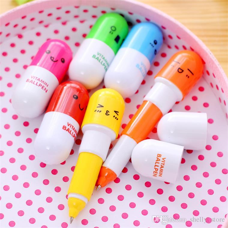 Cute Pill Shape Retractable Ballpoint Pen Kawaii pill shape novelty ballpen Lovely learning stationery Kids toy gifts