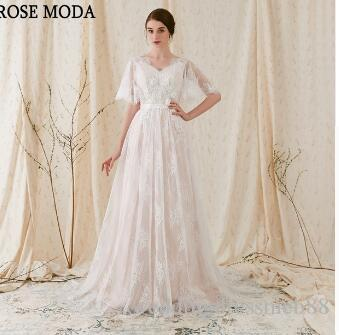 Rose Moda Chantilly Lace Boho Wedding Dress V Neck Short Flare