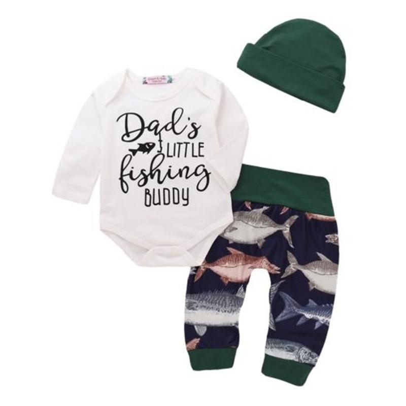2cdb97c103391 Newborn Baby Boy Fishing Tops Bodysuit Romper Long Pants Ledding Hat  Outfits Cotton Kids Clothes Children Clothing Set 0-24M