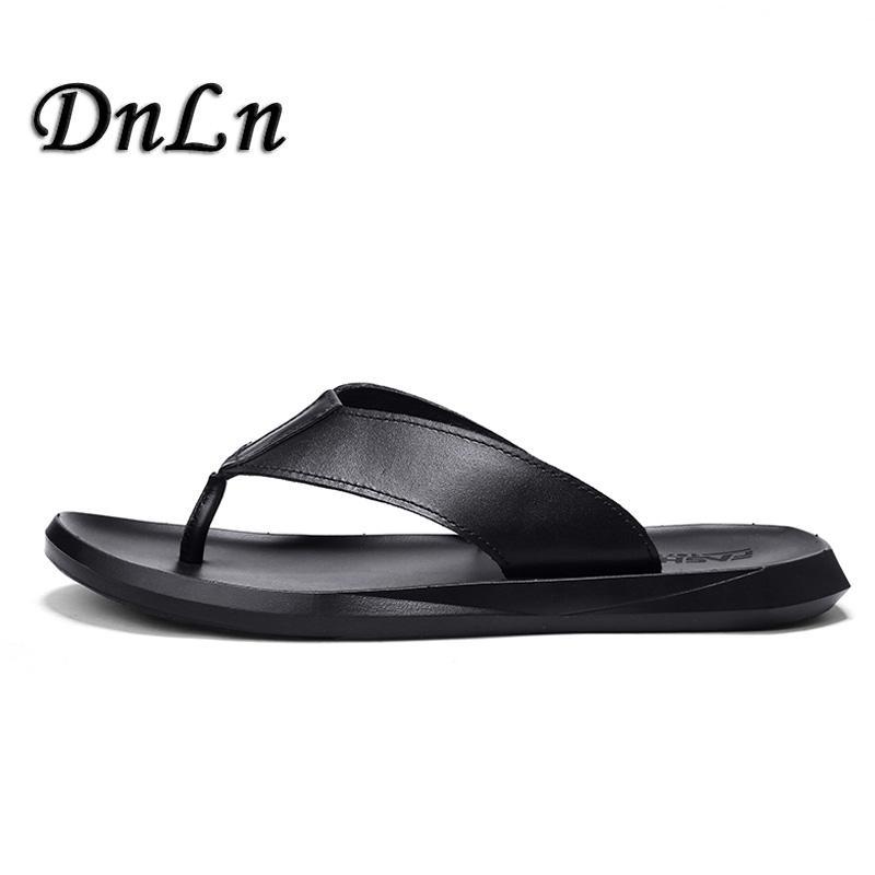 071a6a23f6a3 Luxury Brand 2018 New Men S Flip Flops Soft Leather Slippers Summer Fashion  Beach Sandals Shoes For Men ZT40 Womens Sandals Sandals For Men From  Lemmenv