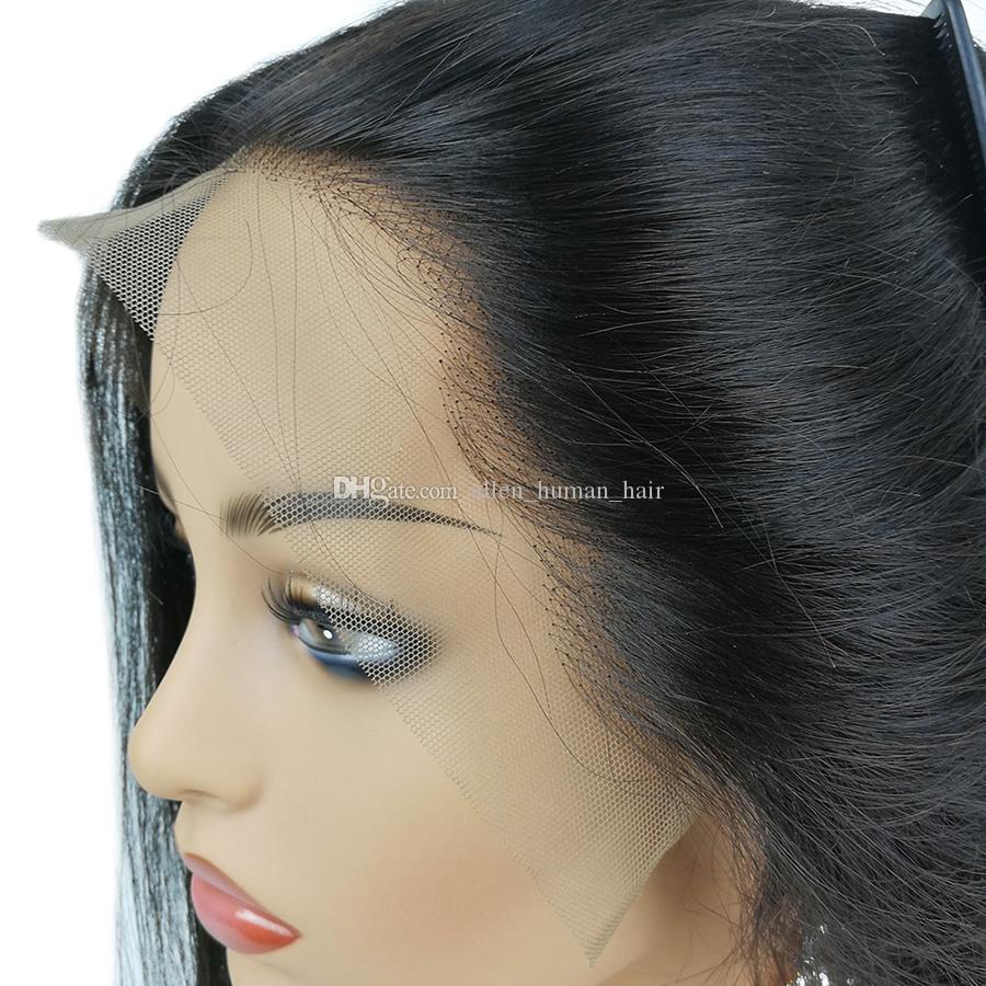 Silky Straight Brazilian Virgin Hair Full Lace Human Hair Wigs 130 Density 150 Density With Baby Hair Pre-plucked Hairline Bleached Knots