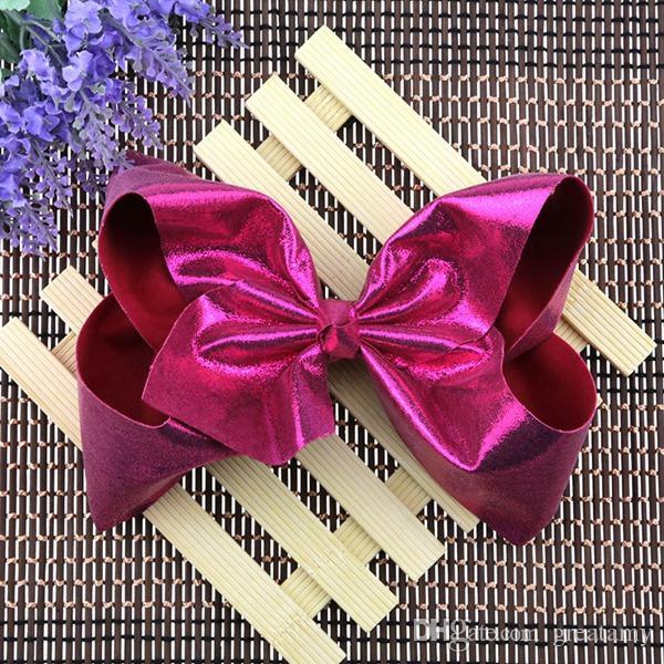 Jojo 8 pouces largeur 7.5 CM filles en cuir bowknot clip princesse fête de Noël performance coiffe fille cheveux ornements vente chaude