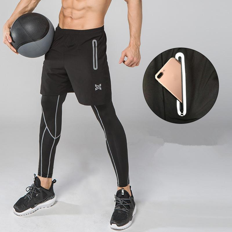 561b84592abd72 2019 Men Running Pants With Shorts Sport Soccer Leggings Compression Fitness  Football Basketball Tights Breathable Zipper Pocket From Alexandr, ...