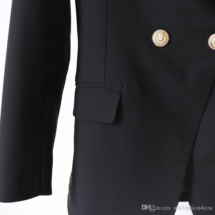 3 색 착실히 보내다 프리미엄 새 스타일 최고 품질 원래 디자인 여성의 더블 브레스트 슬림 자켓 금속 버클 재킷 레트로 숄 칼라