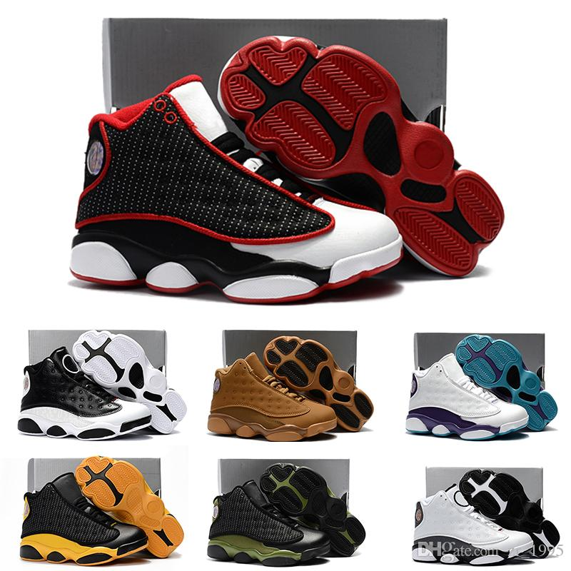 buy popular 9037d 7c68e Acheter Nike Air Jordan 13 Retro 2018 Bébé Enfants Lettre First Walkers  Infants Fond Mou Anti Dérapants Chaussures Hiver Chaud Enfant Chaussures 13  Couleurs ...