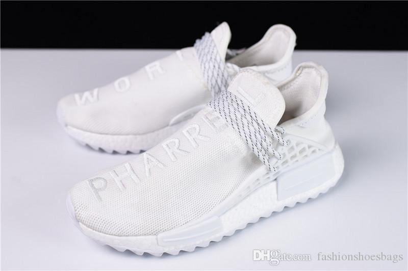 hot sale online fdf99 fb059 2017 New Arrival Ad Human Race NMD Hu Cream Pharrell White Holi Blank  Canvas Cream White Running Shoes With Origanal Box