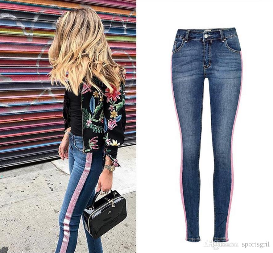 cff1fa00c3e 2019 Newest Woman Mid Waist Skinny Jeans Fashion Glitter Power Decorate Stretch  Legging Jeans Womens Pencil Pants From Sportsgril