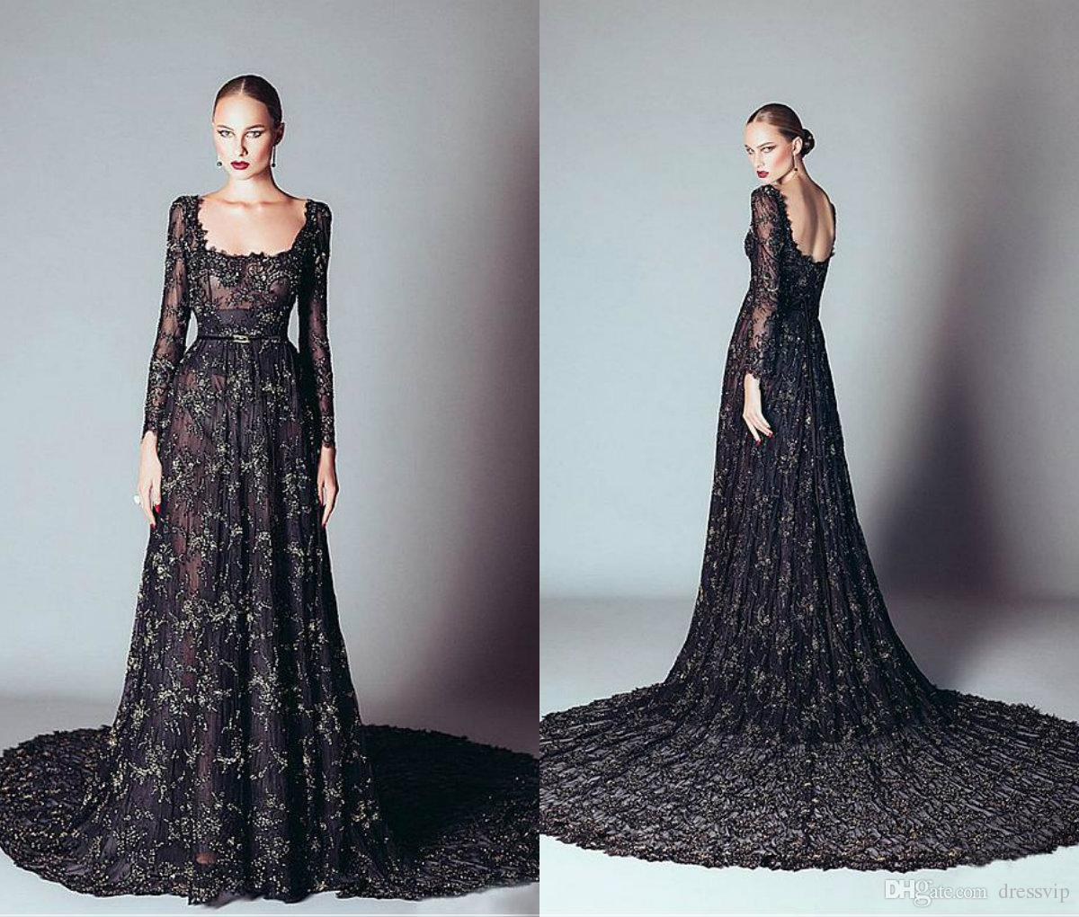 2018 Zuhair Murad Black Prom Dresses Long A Line Lace Tulle Applique ...