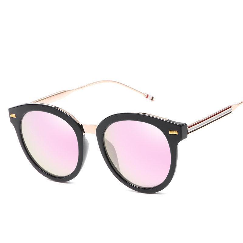 aefd3756a5c084 Acheter Lunettes De Soleil Rondes Femmes 2018 Nouveau Concepteur Or Cadre  Miroir Lunettes De Soleil Lunettes De Luxe Femme Rose Jaune Oculos De  5.55  Du ...
