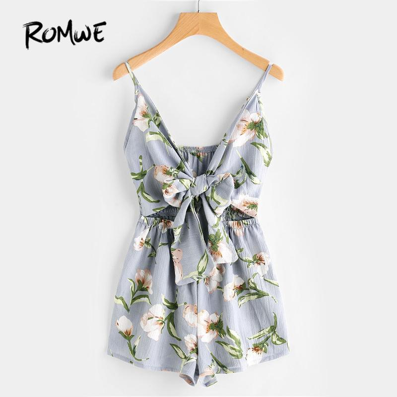 bb436737fc 2019 ROMWE Floral Print Cut Out Knot Front Cami Romper Summer Womens Romper Hollow  Out Sleeveless V Neck Sexy From Waxeer