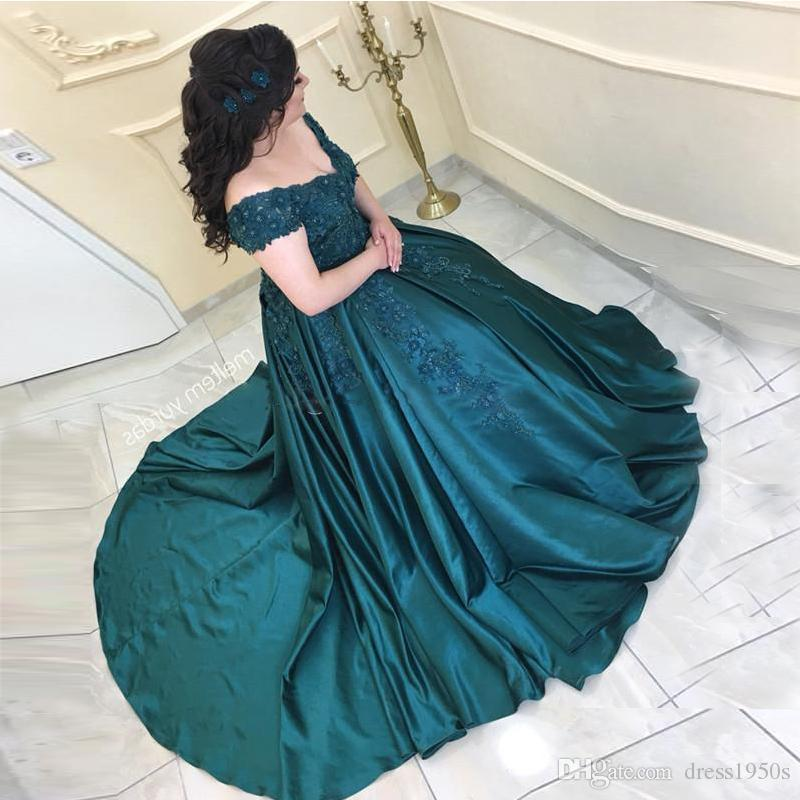 edc7a53070f13 Dark Green Prom Dresses V Neck Off The Shoulder Appliques Beaded Satin Plus  Size Formal Evening Party Dresses Lace Up Cinderella Prom Dress Clearance  Prom ...