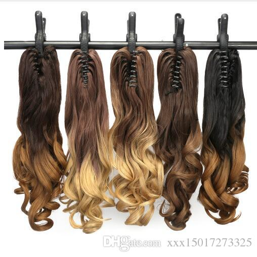 "22"" 55CM Long Wavy Hair Pieces and Ponytails Extensions Ombre Synthetic Claw Clip in Pony Tail Fake Women's Hairpiece"