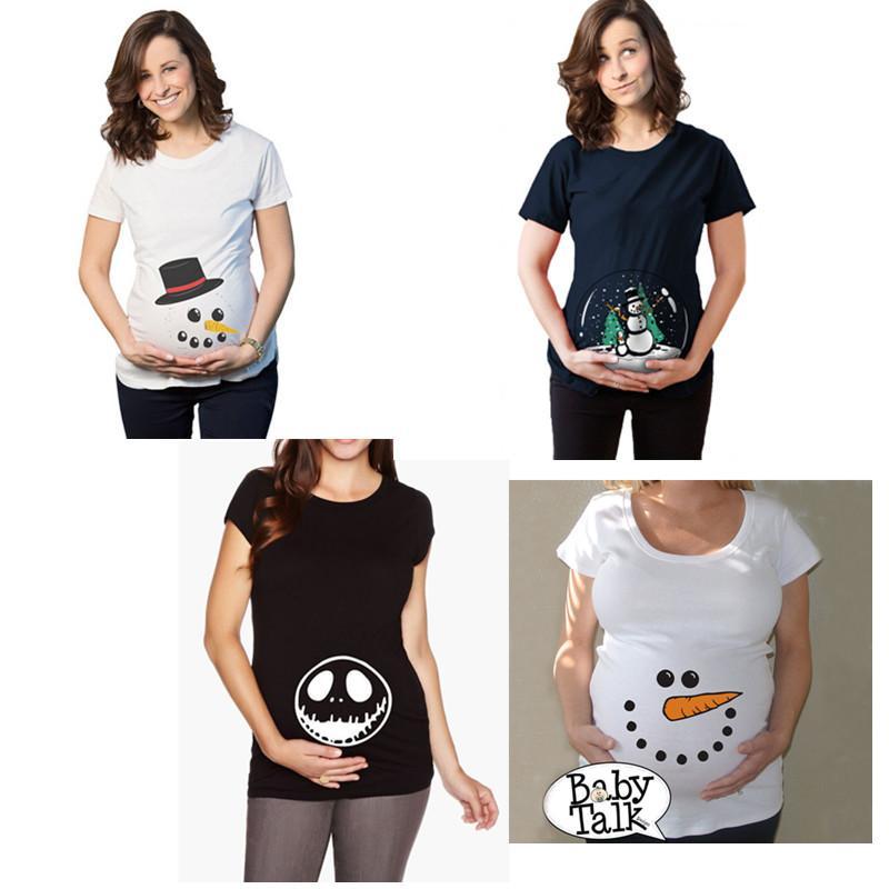 7ee2164b4677e Women Christmas Snow Man Print Funny Maternity T-shirt Pregnant Tees Top  M-3XL Tops Clothing, ...
