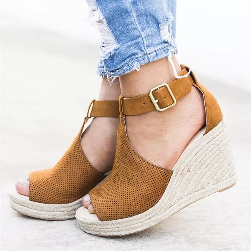 e7e7c7f5d Women Summer Sandals Wedge Peep Toe Shoes High Heels Beach Ladies Shoes  Fashion Platform Rome Plus Size Cute Shoes Leather Sandals From Hsyshoes