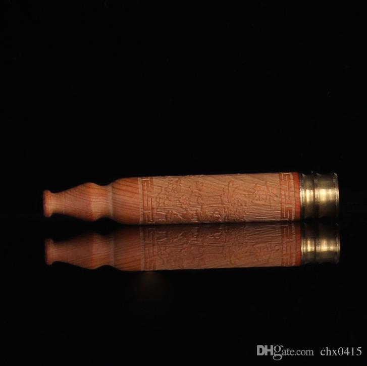 Красиво высеканный держатель сигареты твердой древесины тиса, штуцеры сигареты, медная голова, рот трубы фильтра