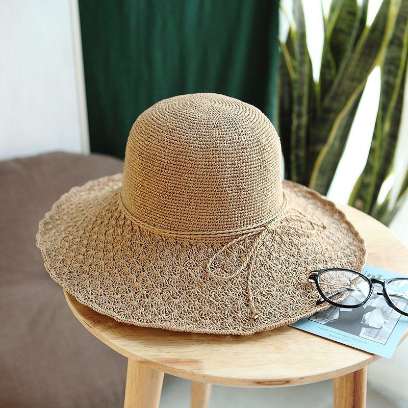 3593b373 2018 Fashion Design Summer Plus Size Sun Hat for Women Solid Color ...