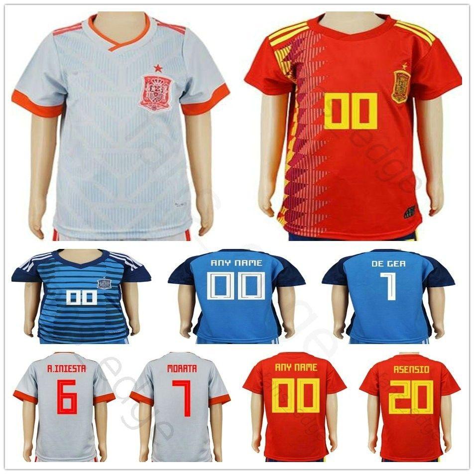 KIDS España Camisetas De Fútbol Copa Mundial De Fútbol 2018 Camiseta  Juvenil Uniforme De Portero Camisetas De Futbol MORATA ASENSIO ISCO DE GEA  RAMOS Por ... 668c4393eaa27