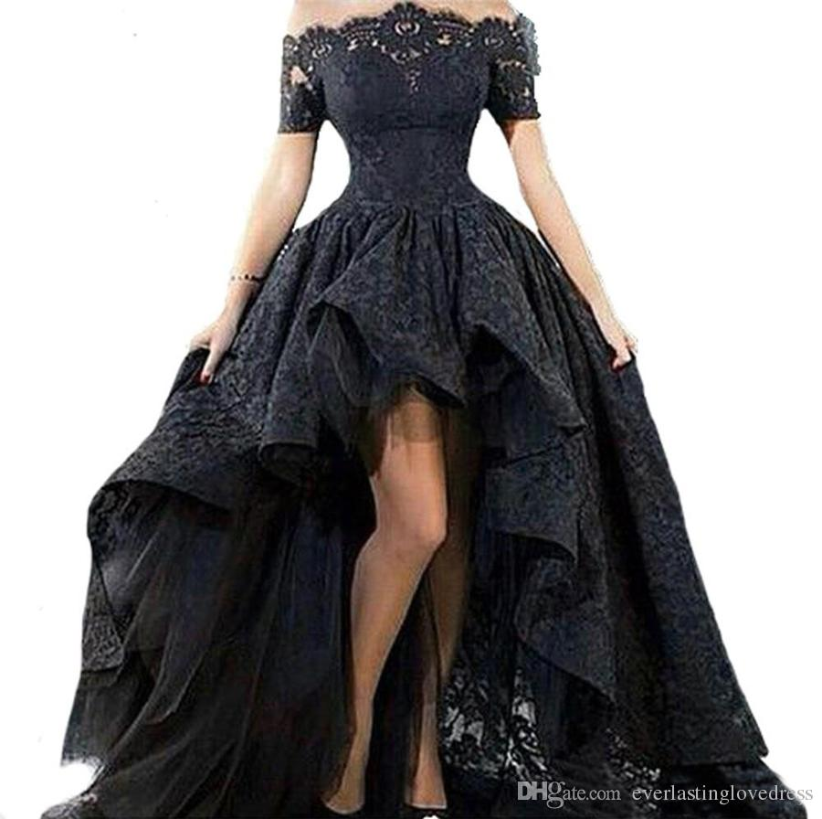 Off Shoulder High Low Prom Dress Boat Neck Short Sleeve Lace Party Gown Short Front Long Back Evening Dress for Graduation
