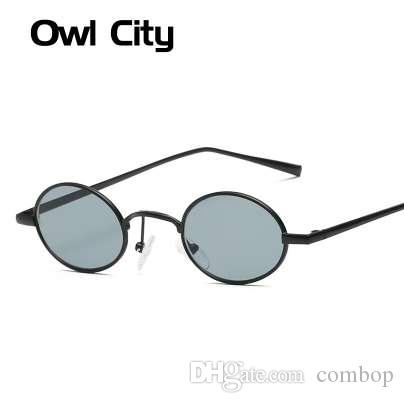 956b69891 Compre Óculos De Sol Das Mulheres Do Vintage Pequeno Rodada Óculos De Sol  Retro Senhoras Sunglass Preto Lentes De Cor Amarela Eyewear Marca Designer  De ...