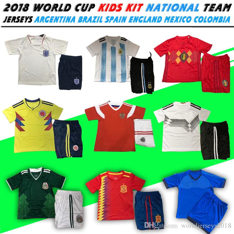 2018 World Cup Kids Kit Soccer Jersey Spain Isco Argentina Messi Japan  Colombia Belgium Russia Mexico Sweden Boys Football Children Uniforms UK  2019 From ... a75af1dd1