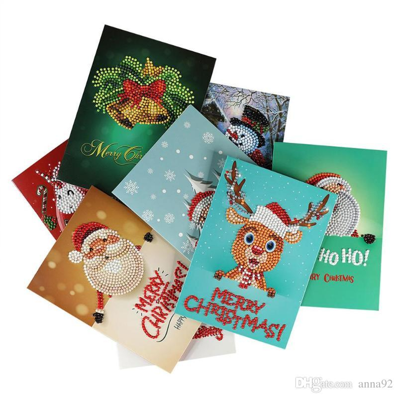 diy 5d diamond christmas greeting cards craft cross stitch painting new year xmas gifts christmas decoration supplies hot sale unique christmas decorating - Diy Greeting Cards