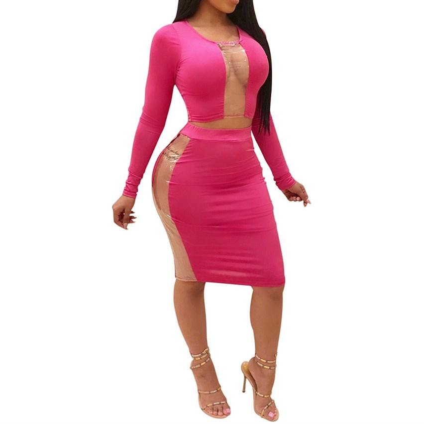 3dff35374 Autumn 2 Piece Set Women Bodycon Long Sleeve Crop Top+Bodycon Pencil Skirt  Slim Sexy Evening Party Pink Two Piece Matching Sets
