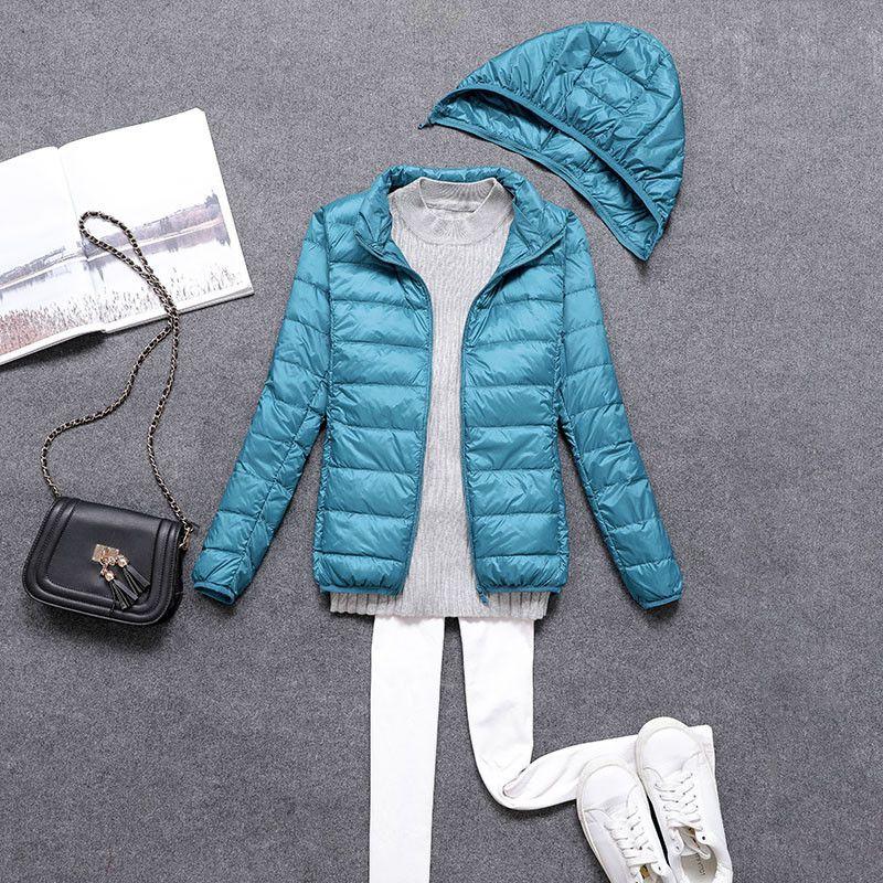 8c9b2f923 2018 New Autumn Winter Women Ultra Light Down Jacket White Duck Down  Lightweight Parkas Female Warm Thin Hooded Short Coat A1131