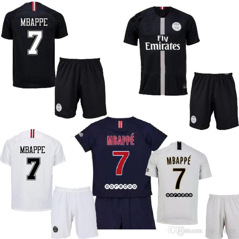 the best attitude 36f16 2dd09 New Mbappe PSG third black KIDS kit soccer Jerseys 18 19 home away white  VERRATTI CAVANI pairs youth child football shirt 2018
