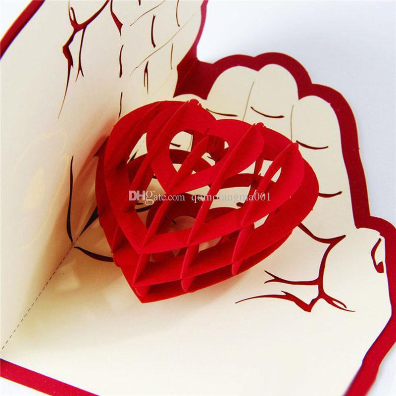 Cadeau de Saint Valentin Amour à la main 3D Pop Up Carte de voeux Carte postale Enveloppe assortie Carte découpée au laser
