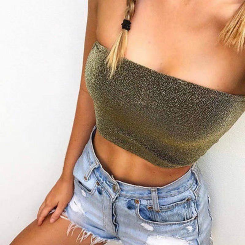 Sexy Frauen trägerlosen Pailletten Tops Bandeau BH Modal Boob Tube Weste Crop Top Tees Tanks Top Outfit Sunsuit