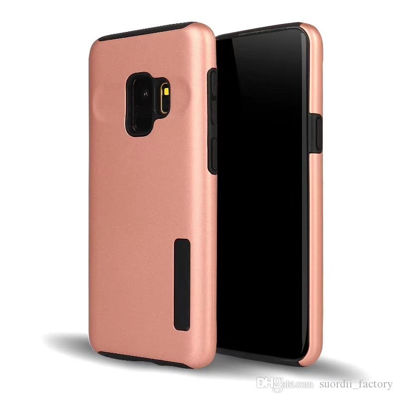 new products e06a8 94def 2in1 Brushed Hybrid Case For Samsung Galaxy S9 S9 Plus Note 8 S8 Plus S4 S5  S6 S7 Edge Armor Rugged Shockproof Hard PC+TPU Slim Cover