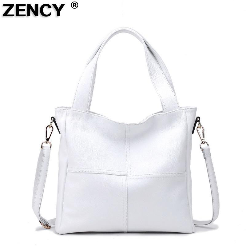 8f4926f14d45 100% Genuine Leather Women Shoulder Bags Ladies Shopping Handbag Female  Long Handle Messenger Black White Cowhide Purse Satchel D18102906 Clutch  Bags ...
