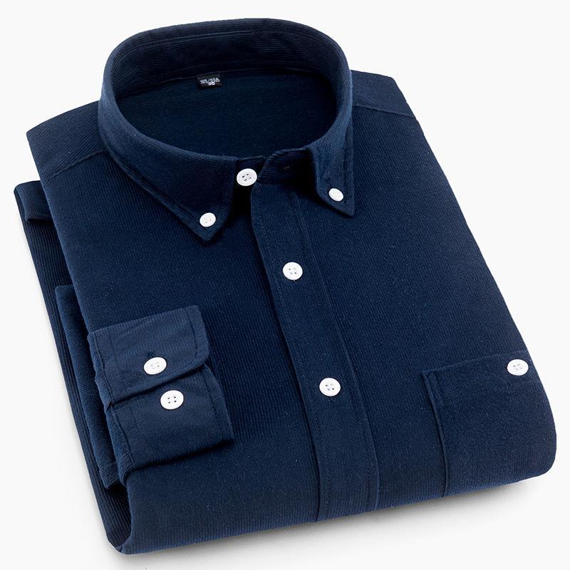 a2fb4a900b Compre Camisas De Vestir De Pana De Los Hombres Camisa De Manga Larga De  Los Hombres Camisa De Los Hombres Ocasionales De La Camisa De Los Hombres  ...