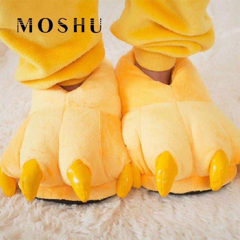 Men&Women Slippers Indoor Fuzzy Winter Plush Slippers Animal Paw Children Home Slippers Female Flip Flops Zapatos Mujer